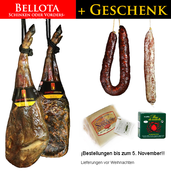 Erhalten Sie diese Weinachten ein Gourmet-Pack Geschenk mit der Bestellung eines BELLOTA Schinken oder Vorderschinken!