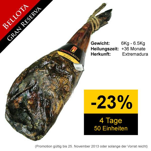 """Bestellunen von Pata Negra """"Gran Reserva 2010"""" Bellota Vorderschinken haben einen 23% Rabatt"""