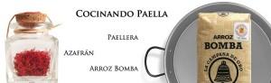 Paella Kochen mit Paellera, Safran in Fäden und Bomba Reis